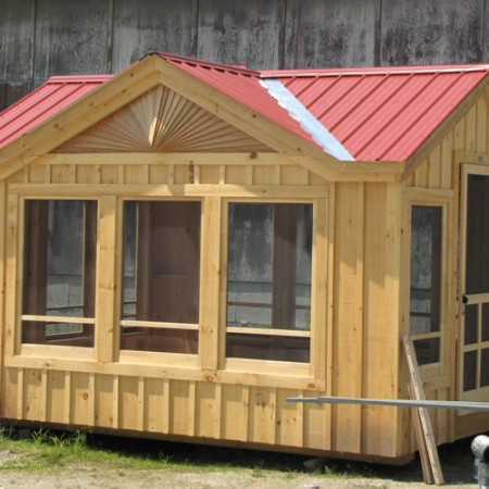 10x14 florida room built with autumn red metal roof for Pre built porch