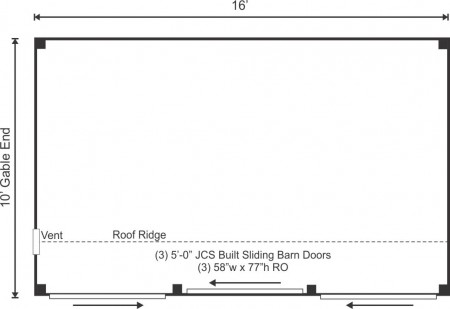 10x16 Three Sled Shed Floor Plan