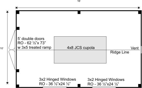 10x16 Sugar Shack Floor Plan