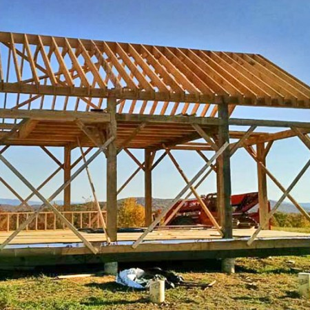 20x30 barn frame being built for New england barns for sale