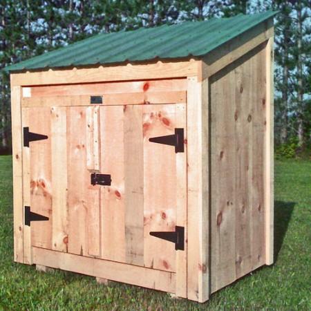 Garbage bin storage wooden garbage bin jamaica cottage for Garden shed electrical kit