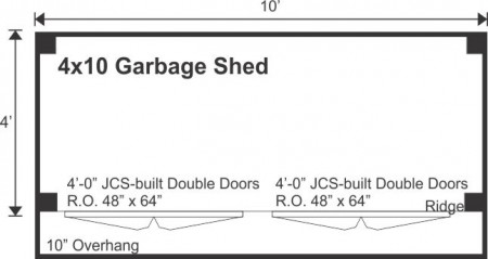 4x10 Garbage Shed - Floor plan