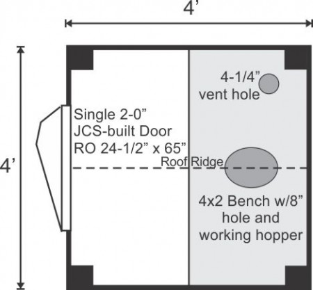 4x4 Working Outhouse - Floorplan