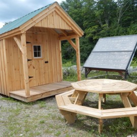 8x12 Nook - Exterior shown with our 8x8 solar shed and octagon picnic table