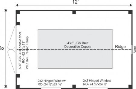 8x12 Sugar Shack Floor Plan
