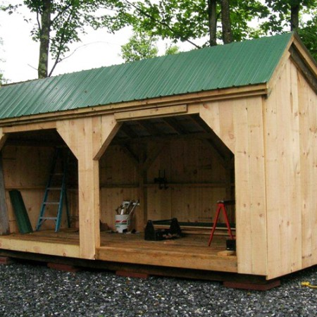 8x20 woodbin exterior for Three sided shed plans