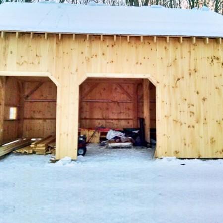 20x30 garage work in progress for 2 bay garage kit