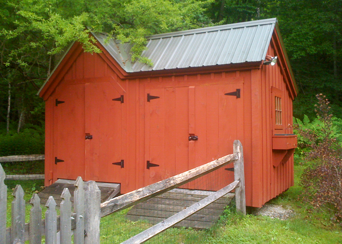 Vermont Gem Painted Red Custom Garden Shed Barn Flower Boxes Chicken Coop