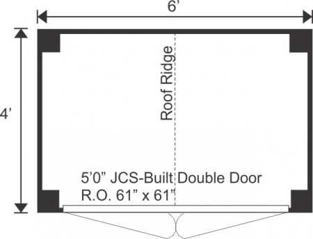 4x6 Gable Shed - Floor Plan