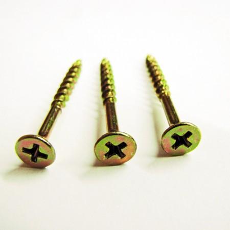 Yellow zinc drywall screws