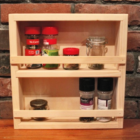 Unfinished, natural pine spice rack