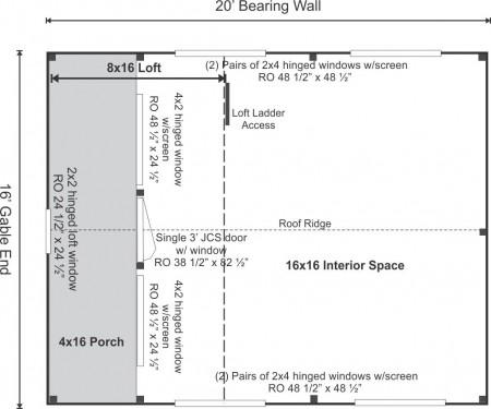 16x20 Vermont Cottage Option C Floor Plan