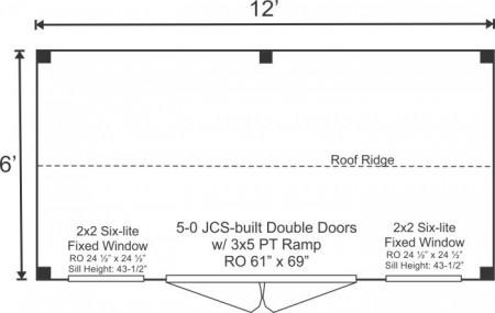 6x12 Nantucket - Storage Shed Floorplan