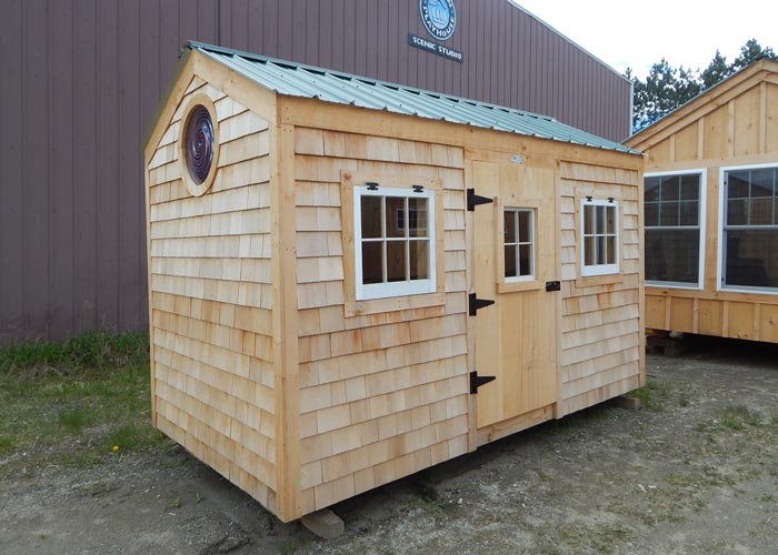 Small backyard sheds outside sheds for sale jamaica for Cedar shingle shed
