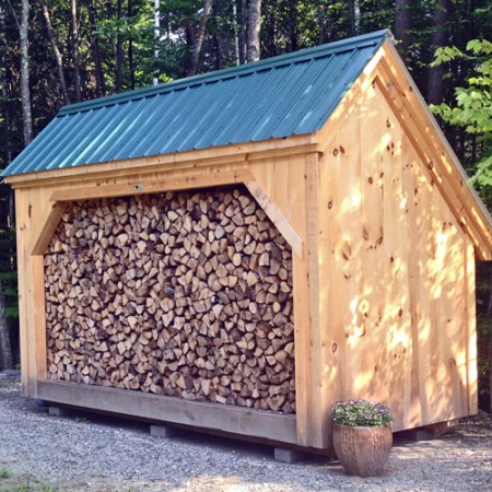 6x14 Woodbin - shown full of perfectly stacked firewood.