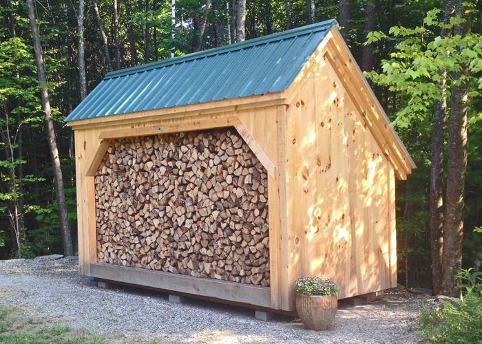 6x14 woodbin post beam firewood storage shed kit easy to for Wood storage building plans