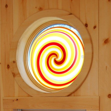 Stained Glass Roundel - This one was installed in a cottage. The carpenter needed to insulate it for four season use.