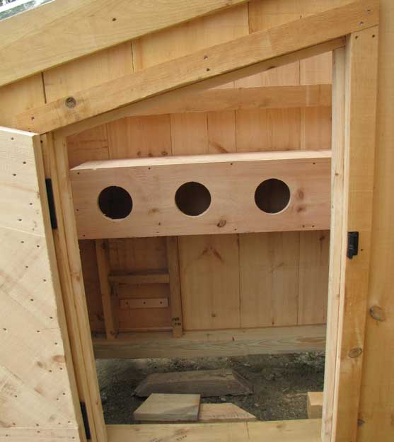 Nesting Boxes viewed from the front door of a chicken coop.