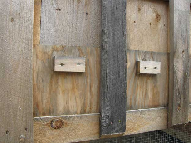 Two chicken nesting boxes with rear door upgrades.