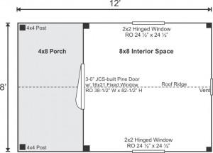 8x12 Garden Shed Standard Floor Plan