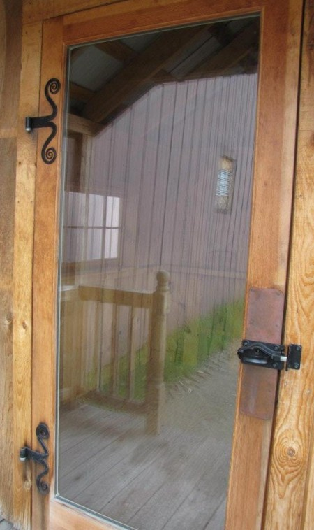 Full glass door with spiral hinges,  wood shed kits