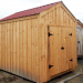 8x10 New Yorker B upgraded to have an Autumn Red corrugated metal roof and battens