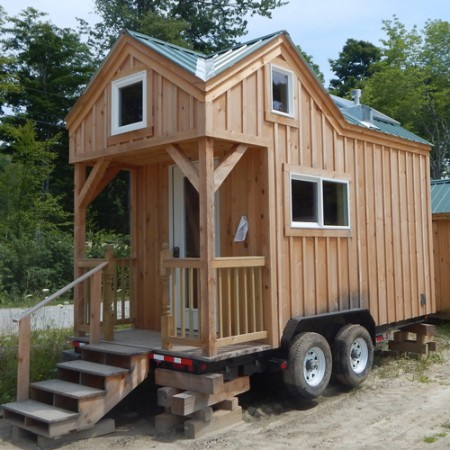 8X16 Cross Gable Tiny House On A Trailer