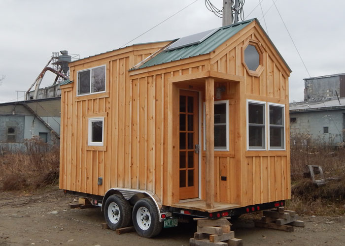 8x16 cross gable tiny house on a trailer for Small house design on wheels
