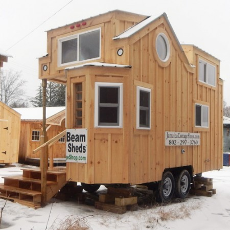 8x16 charlavail tiny house on wheels exterior overview - Small Cabins For Sale 2