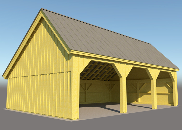 24x36 Pole Barn Farm Equipment Storage Shed