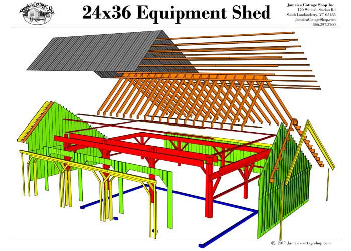 24x36 pole barn farm equipment storage shed for Equipment shed plans free